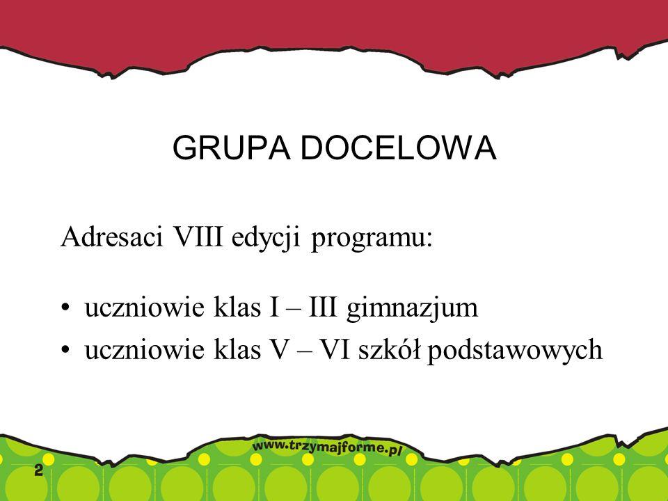 GRUPA DOCELOWA Adresaci VIII edycji programu: uczniowie klas I – III gimnazjum uczniowie klas V – VI szkół podstawowych