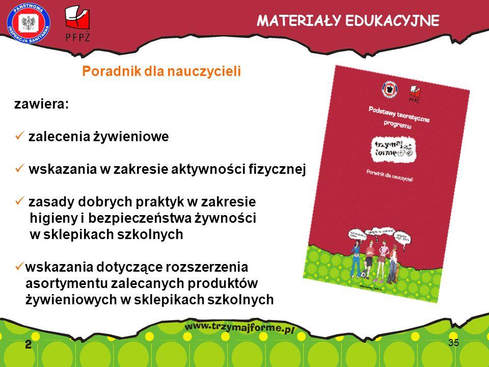 MATERIAŁY EDUKACYJNE Poradnik dla nauczycieli zawiera: zalecenia żywieniowe wskazania w zakresie aktywności fizycznej zasady dobrych praktyk w zakresi