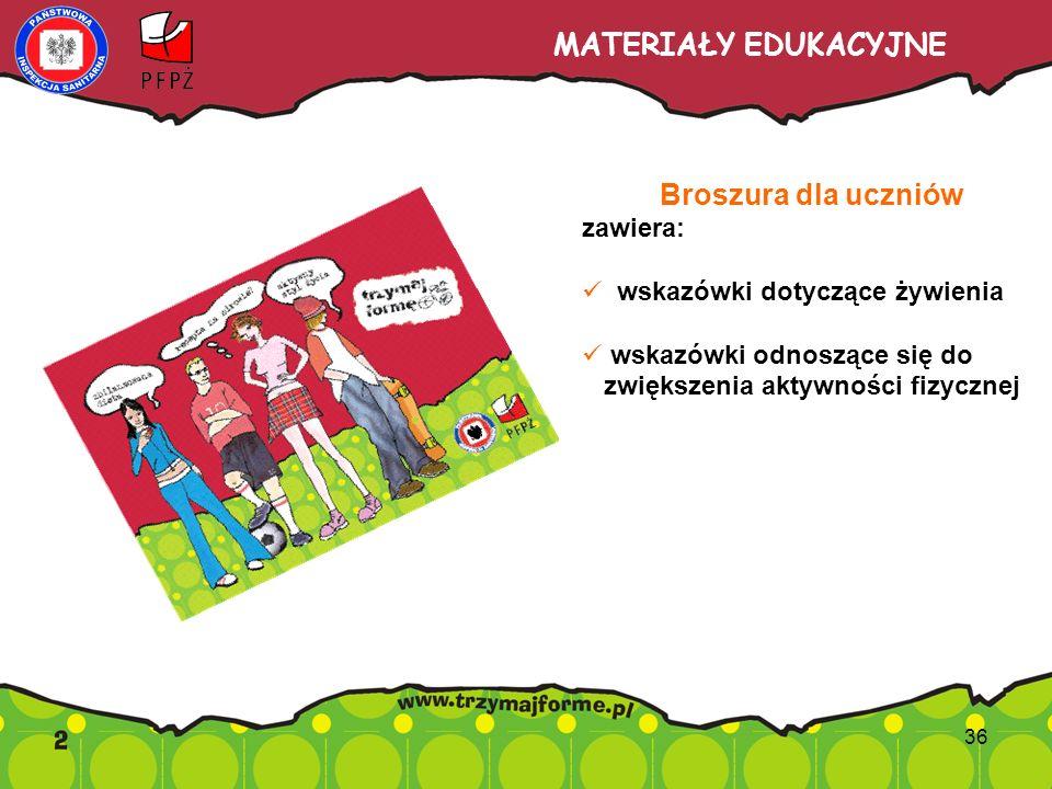 MATERIAŁY EDUKACYJNE Broszura dla uczniów zawiera: wskazówki dotyczące żywienia wskazówki odnoszące się do zwiększenia aktywności fizycznej 36