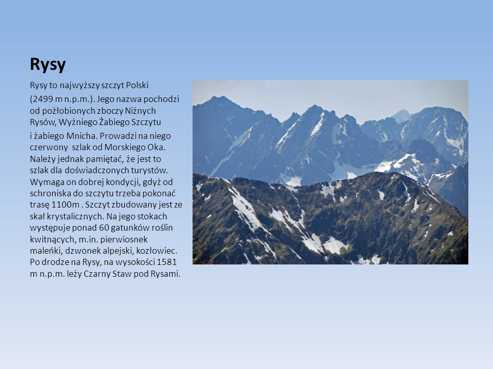 Rysy Rysy to najwyższy szczyt Polski (2499 m n.p.m.). Jego nazwa pochodzi od pożłobionych zboczy Niżnych Rysów, Wyżniego Żabiego Szczytu i żabiego Mni