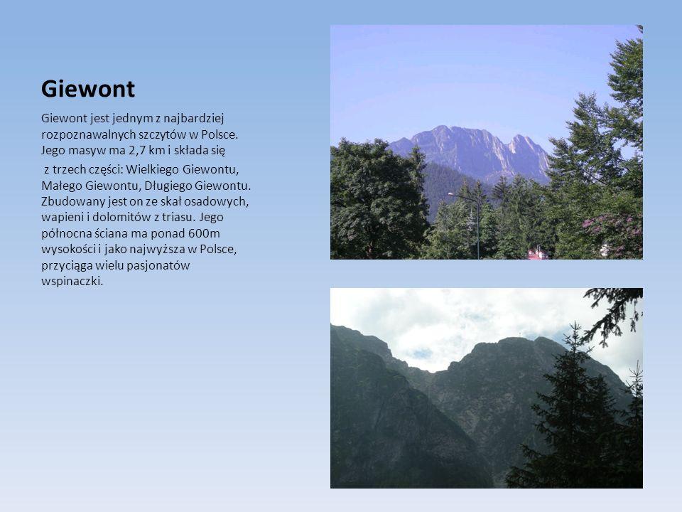 Giewont Giewont jest jednym z najbardziej rozpoznawalnych szczytów w Polsce. Jego masyw ma 2,7 km i składa się z trzech części: Wielkiego Giewontu, Ma