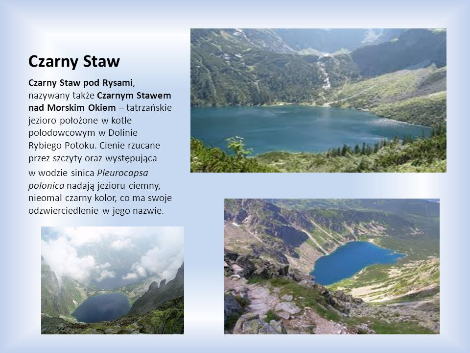 Czarny Staw Czarny Staw pod Rysami, nazywany także Czarnym Stawem nad Morskim Okiem – tatrzańskie jezioro położone w kotle polodowcowym w Dolinie Rybi