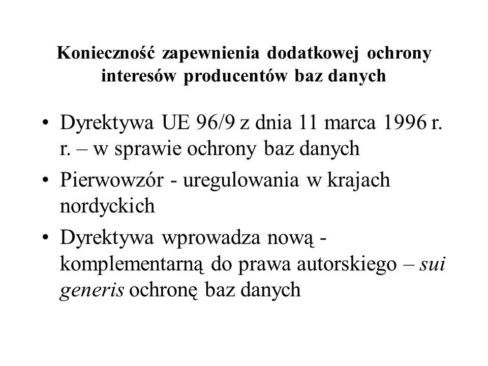 Konieczność zapewnienia dodatkowej ochrony interesów producentów baz danych Dyrektywa UE 96/9 z dnia 11 marca 1996 r.