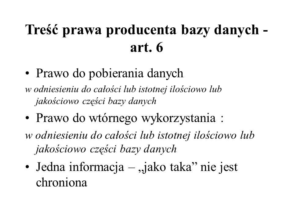 Treść prawa producenta bazy danych - art.