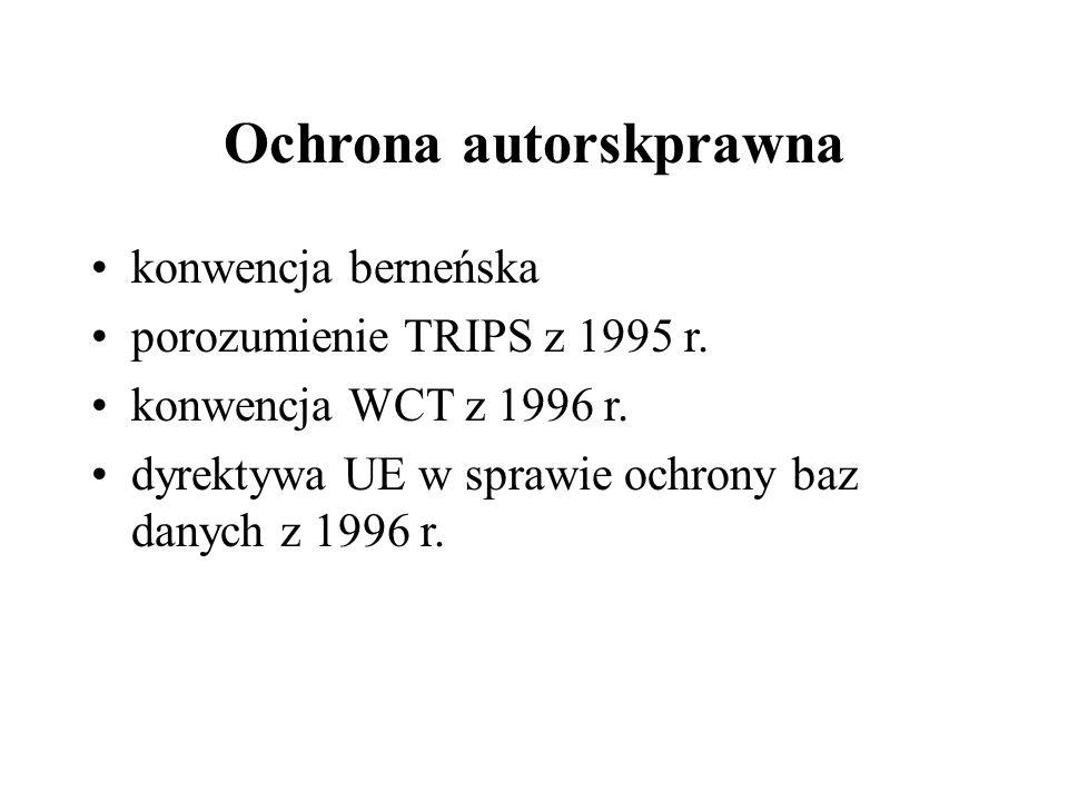 Ochrona autorskprawna konwencja berneńska porozumienie TRIPS z 1995 r.