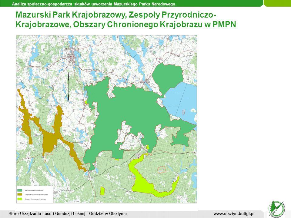 Analiza społeczno-gospodarcza skutków utworzenia Mazurskiego Parku Narodowego Mazurski Park Krajobrazowy, Zespoły Przyrodniczo- Krajobrazowe, Obszary