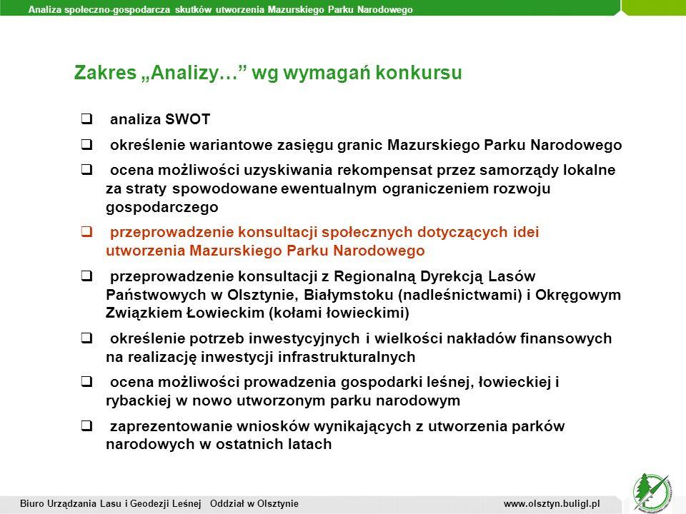Analiza społeczno-gospodarcza skutków utworzenia Mazurskiego Parku Narodowego Zakres Analizy… wg wymagań konkursu Biuro Urządzania Lasu i Geodezji Leś