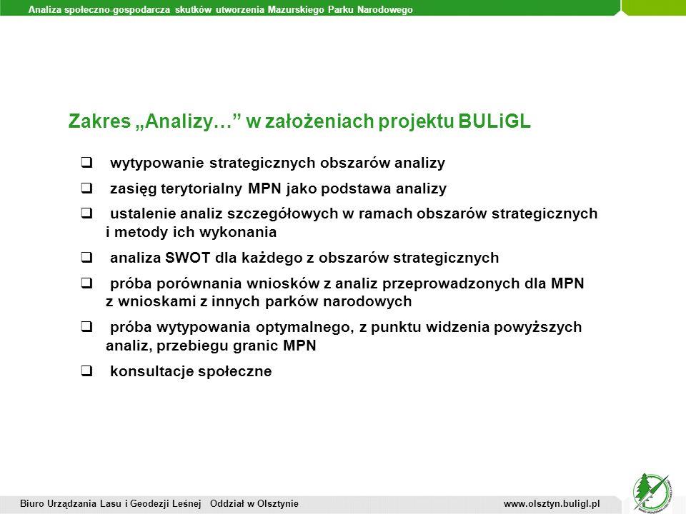 Analiza społeczno-gospodarcza skutków utworzenia Mazurskiego Parku Narodowego Zakres Analizy… w założeniach projektu BULiGL Biuro Urządzania Lasu i Ge