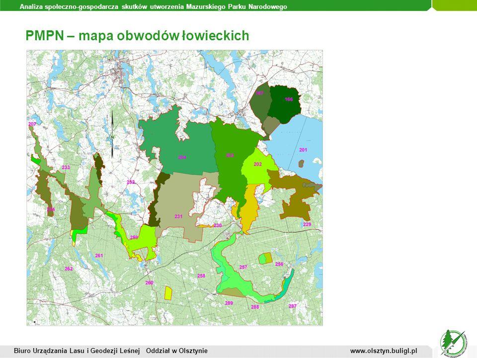 Analiza społeczno-gospodarcza skutków utworzenia Mazurskiego Parku Narodowego PMPN – mapa obwodów łowieckich Biuro Urządzania Lasu i Geodezji Leśnej O