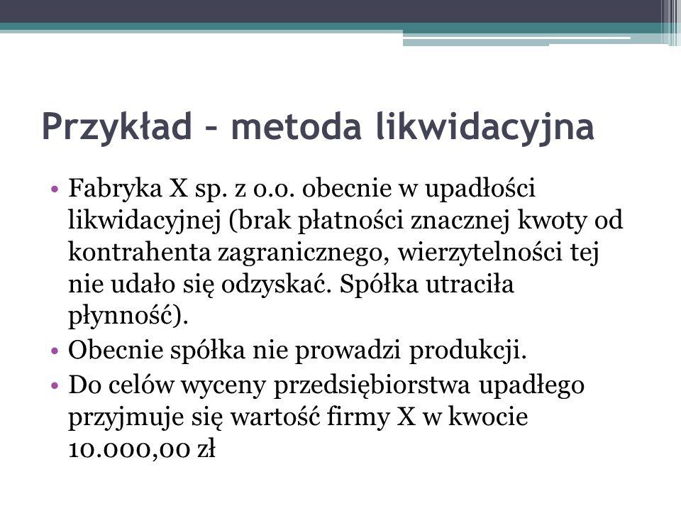 Przykład – metoda likwidacyjna Fabryka X sp. z o.o. obecnie w upadłości likwidacyjnej (brak płatności znacznej kwoty od kontrahenta zagranicznego, wie