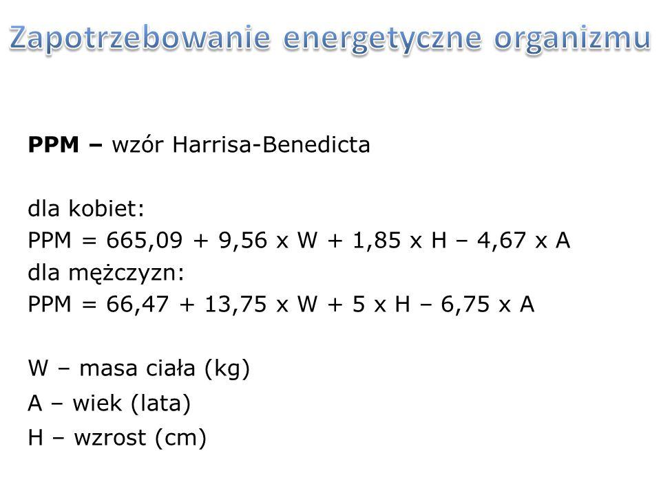 PPM – wzór Harrisa-Benedicta dla kobiet: PPM = 665,09 + 9,56 x W + 1,85 x H – 4,67 x A dla mężczyzn: PPM = 66,47 + 13,75 x W + 5 x H – 6,75 x A W – ma