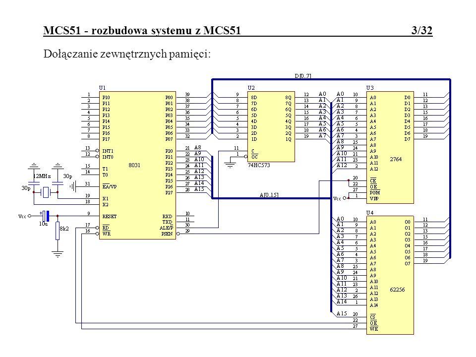 MCS51 - rozbudowa systemu z MCS51 4/32 Dołączanie modułów peryferyjnych z serii 8085: