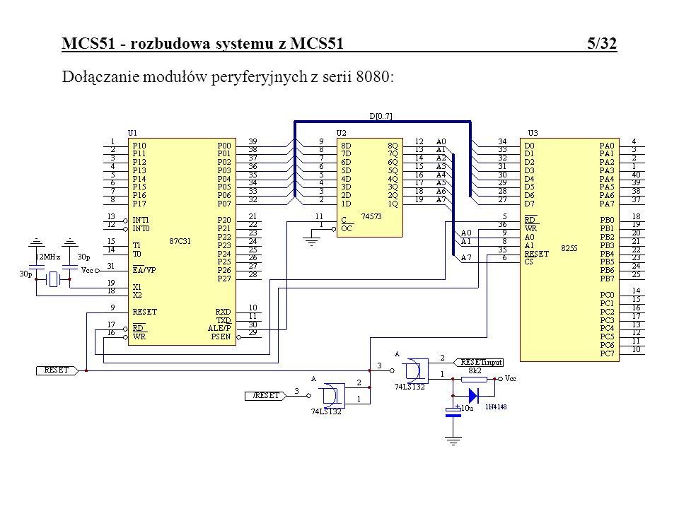 MCS51 - rozbudowa systemu z MCS51 6/32 Dołączanie modułów peryferyjnych z serii 8080 (inny wariant):
