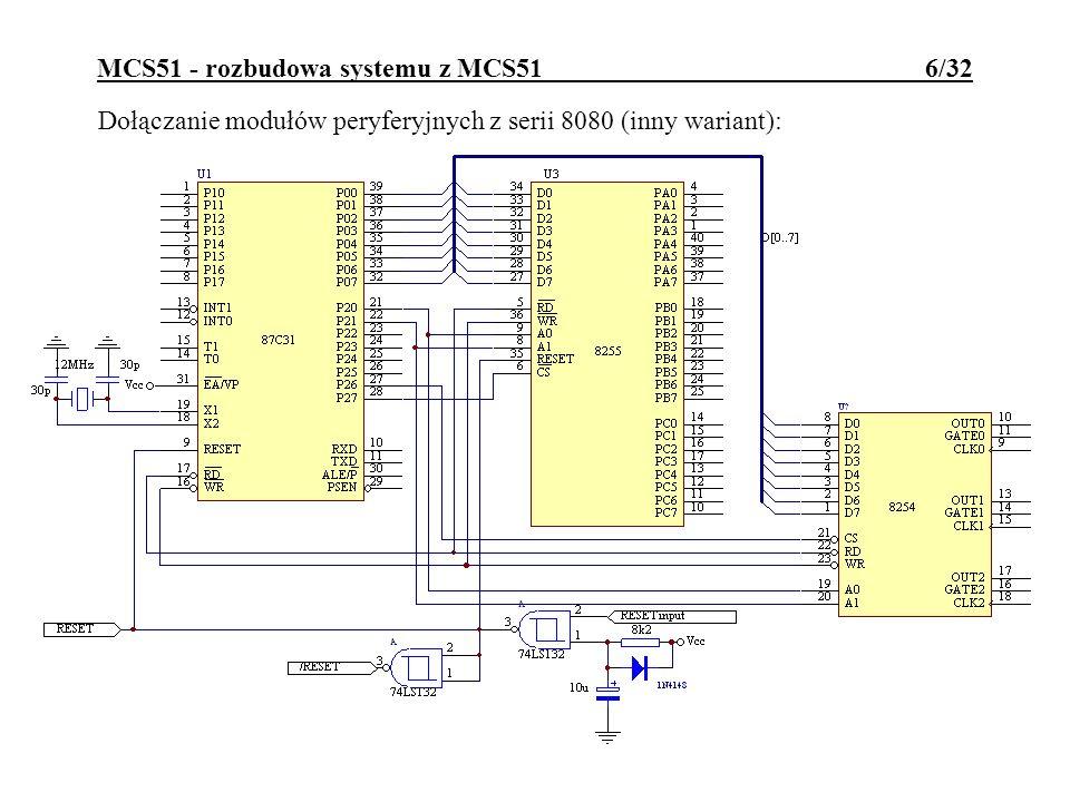 MCS51 - wbudowane peryferia 17/32 Układy arytmetyki MDU Siemensa: operacje przesuwania, normalizacji, dzielenia i mnożenia 16b i 32b liczb w NB; kilkukrotne skrócenie czasu obliczeń arytmetycznych (do 4..6 c.m.); obsługa poprzez 6 rejestrów danych (MD0..MD5) i rejestr sterujący (ARCON); rodzaj wykonanej operacji zależy od sposobu zapisu do rejestrów MDx.