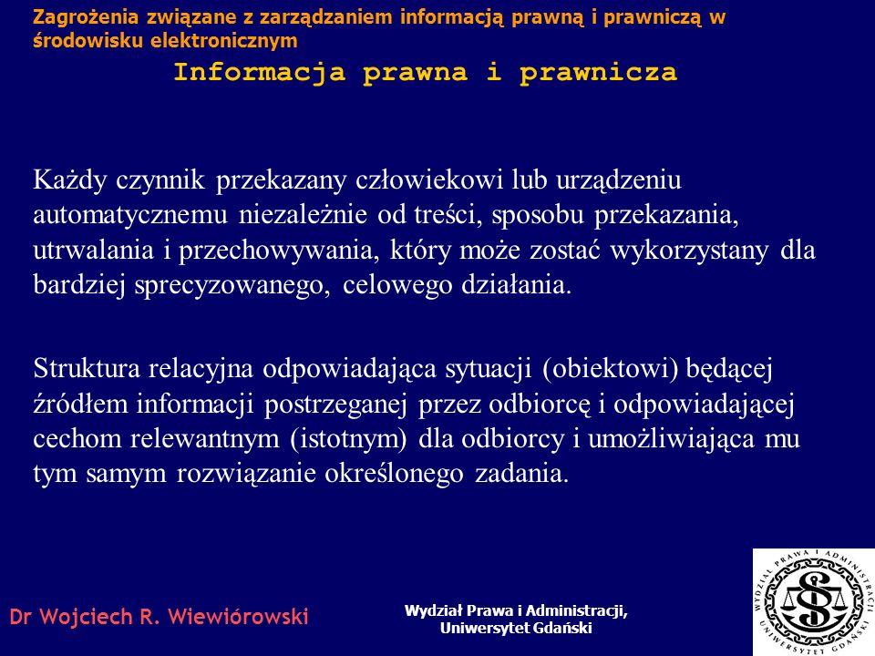 Dr Wojciech R. Wiewiórowski 0. Problematyka Pojęcie informacji prawnej i prawniczej Systemy Informacji Prawnej i tzw. bazy wertykalne Systemy bezpośre