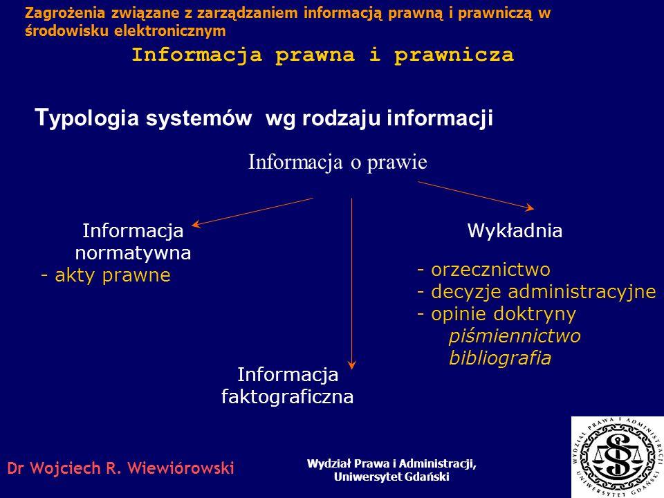 Dr Wojciech R. Wiewiórowski Informacja prawna i prawnicza Wydział Prawa i Administracji, Uniwersytet Gdański Zagrożenia związane z zarządzaniem inform