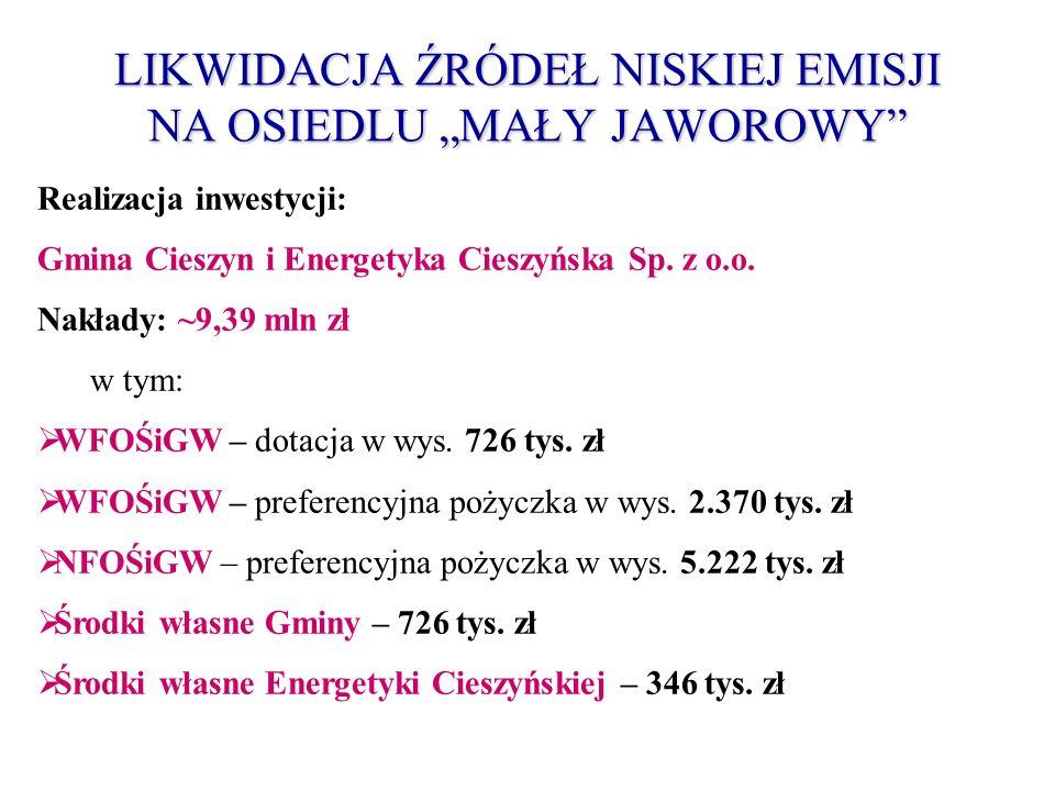 LIKWIDACJA ŹRÓDEŁ NISKIEJ EMISJI NA OSIEDLU MAŁY JAWOROWY Realizacja inwestycji: Gmina Cieszyn i Energetyka Cieszyńska Sp. z o.o. Nakłady: ~9,39 mln z