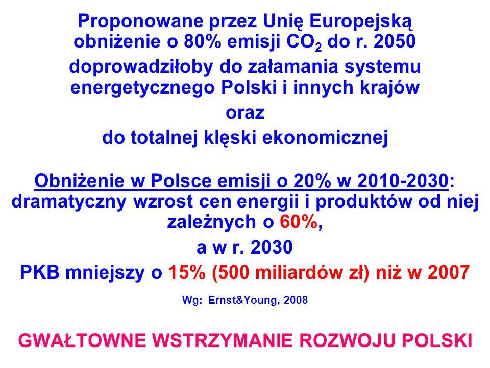 Proponowane przez Unię Europejską obniżenie o 80% emisji CO 2 do r. 2050 doprowadziłoby do załamania systemu energetycznego Polski i innych krajów ora