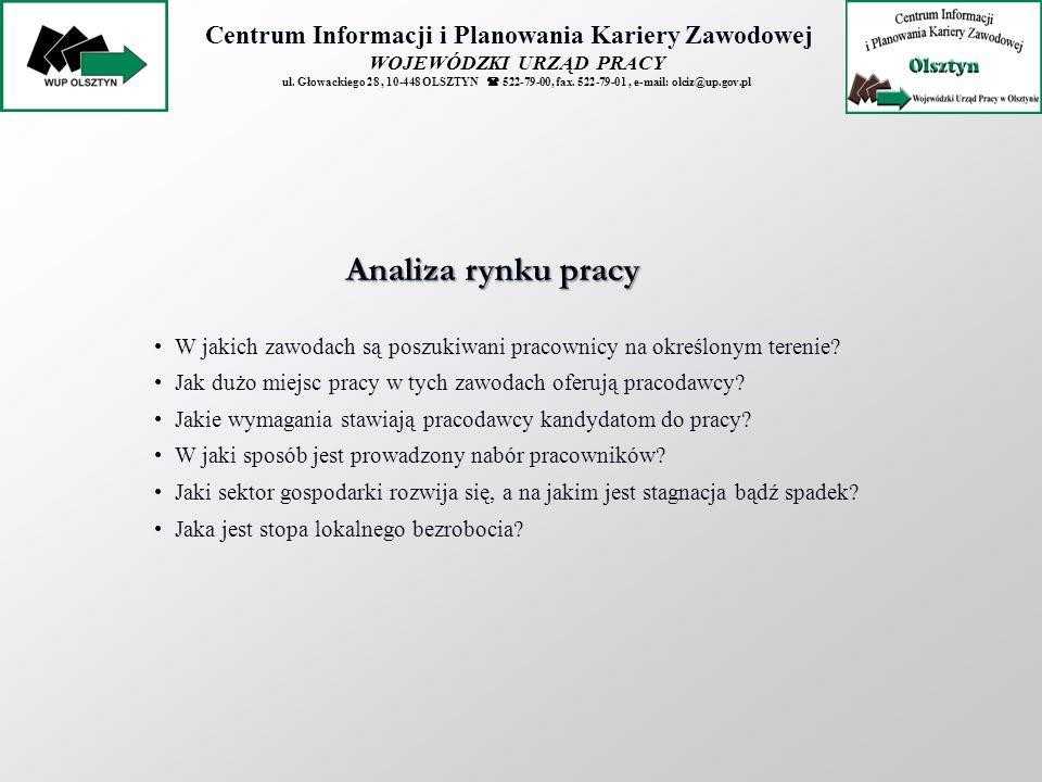 Centrum Informacji i Planowania Kariery Zawodowej WOJEWÓDZKI URZĄD PRACY ul. Głowackiego 28, 10-448 OLSZTYN 522-79-00, fax. 522-79-01, e-mail: olciz@u