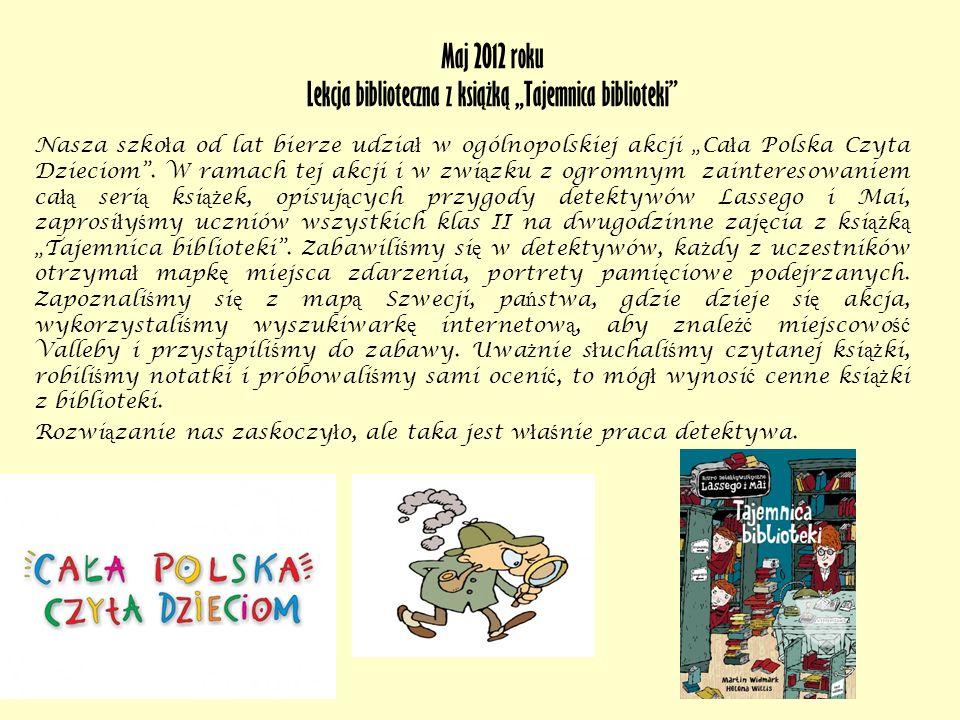 Lekcja biblioteczna z książką Tajemnica biblioteki