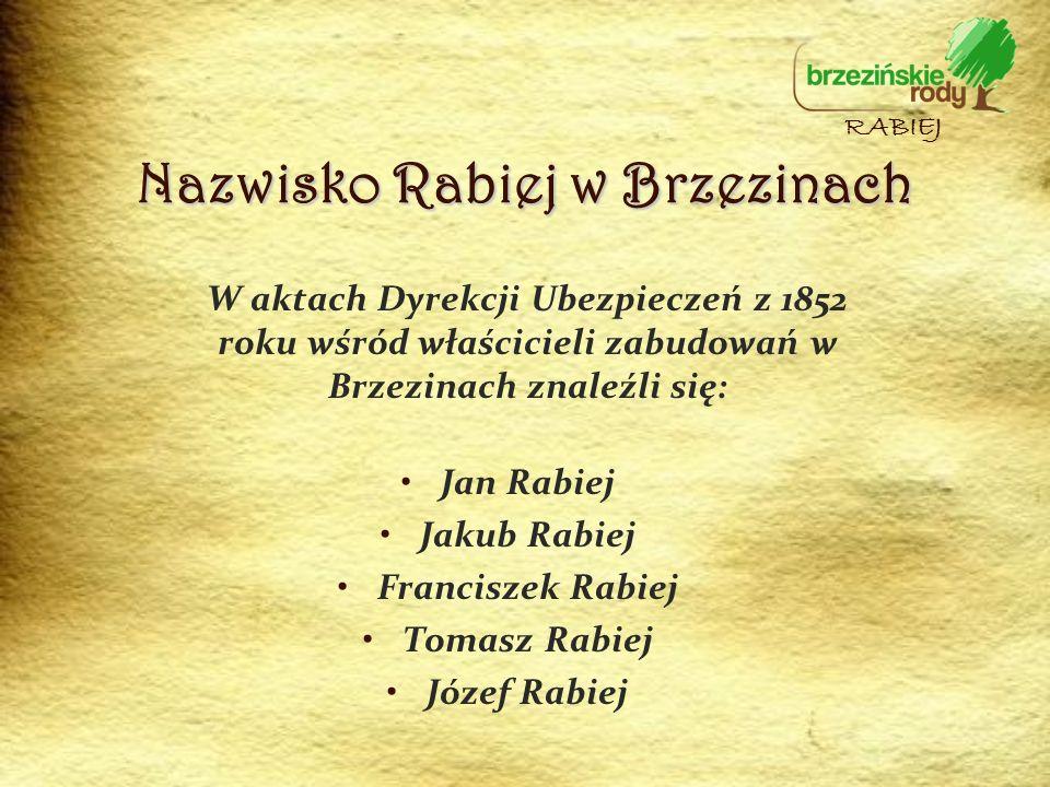 Nazwisko Rabiej w Brzezinach W aktach Dyrekcji Ubezpieczeń z 1852 roku wśród właścicieli zabudowań w Brzezinach znaleźli się: Jan Rabiej Jakub Rabiej