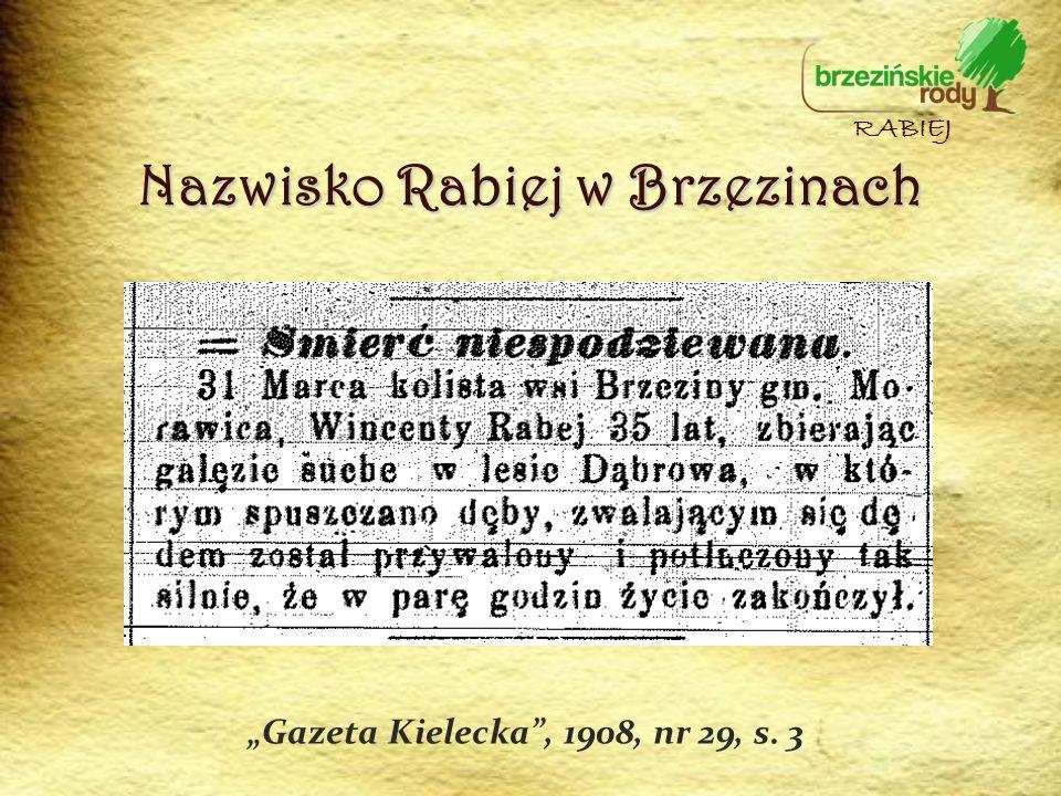Nazwisko Rabiej w Brzezinach Gazeta Kielecka, 1908, nr 29, s. 3 RABIEJ