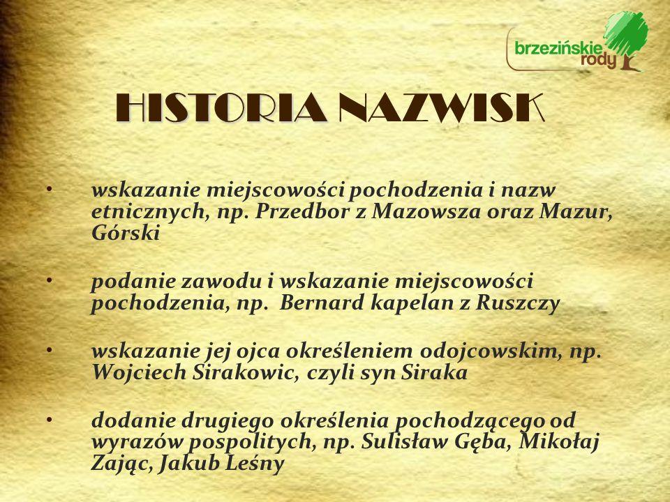 wskazanie miejscowości pochodzenia i nazw etnicznych, np. Przedbor z Mazowsza oraz Mazur, Górski podanie zawodu i wskazanie miejscowości pochodzenia,