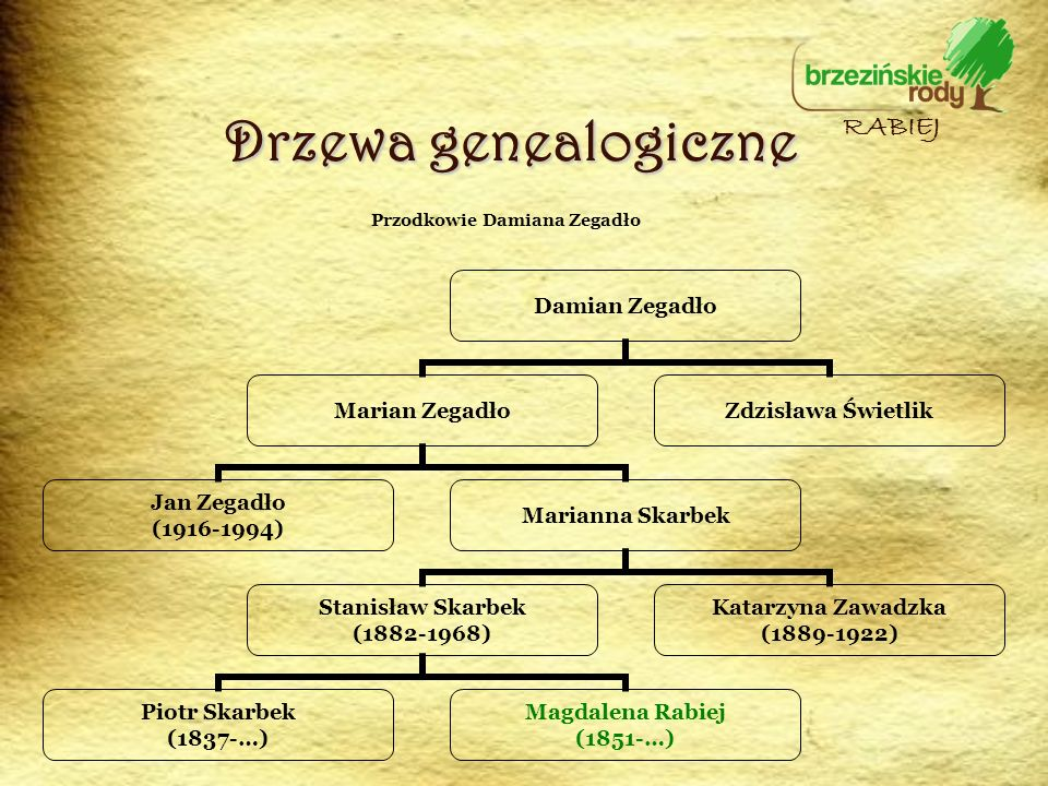 Drzewa genealogiczne Damian Zegadło Marian Zegadło Jan Zegadło (1916-1994) Marianna Skarbek Stanisław Skarbek (1882-1968) Piotr Skarbek (1837-…) Magda