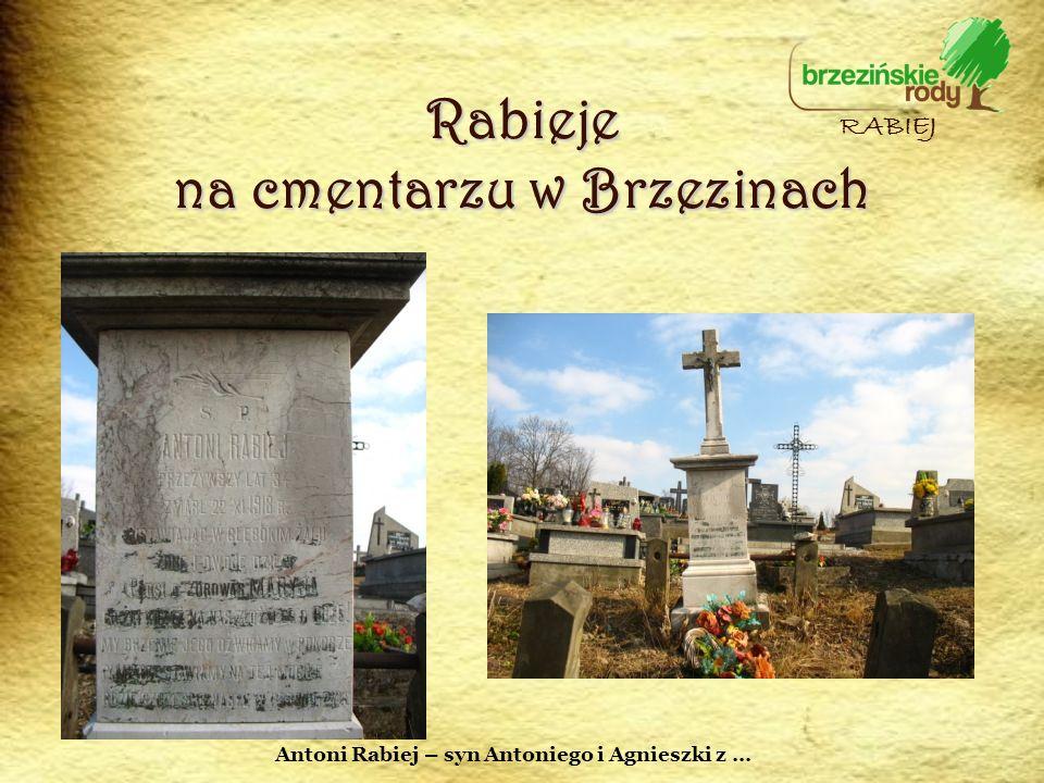 Rabieje na cmentarzu w Brzezinach RABIEJ Antoni Rabiej – syn Antoniego i Agnieszki z …