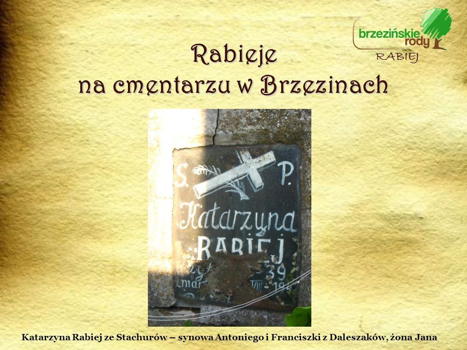 Rabieje na cmentarzu w Brzezinach RABIEJ Katarzyna Rabiej ze Stachurów – synowa Antoniego i Franciszki z Daleszaków, żona Jana
