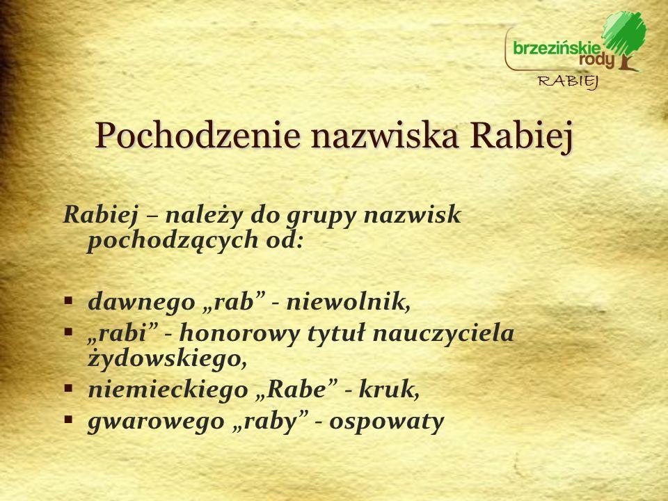 Pochodzenie nazwiska Rabiej Rabiej – należy do grupy nazwisk pochodzących od: dawnego rab - niewolnik, rabi - honorowy tytuł nauczyciela żydowskiego,