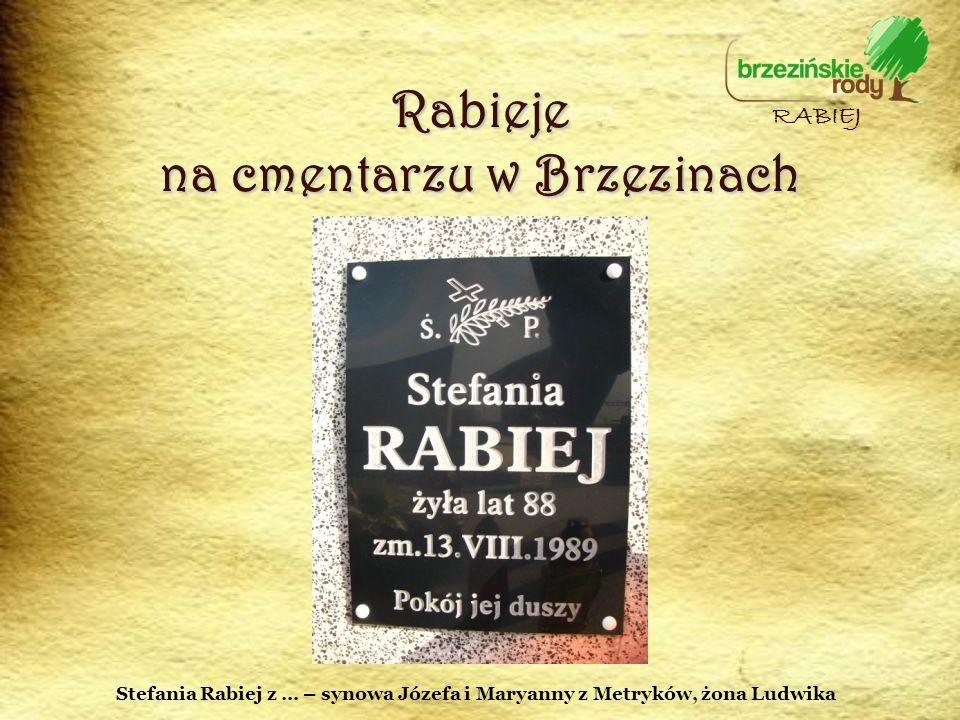 Rabieje na cmentarzu w Brzezinach RABIEJ Stefania Rabiej z … – synowa Józefa i Maryanny z Metryków, żona Ludwika
