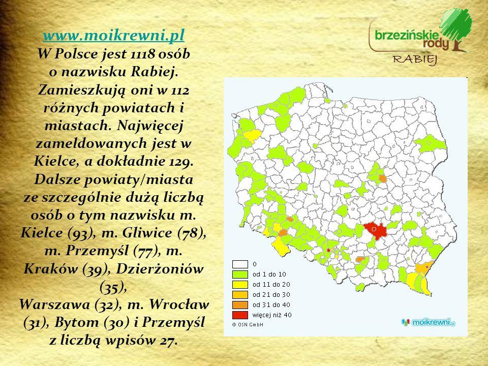 www.moikrewni.pl www.moikrewni.pl W Polsce jest 1118 osób o nazwisku Rabiej. Zamieszkują oni w 112 różnych powiatach i miastach. Najwięcej zameldowany