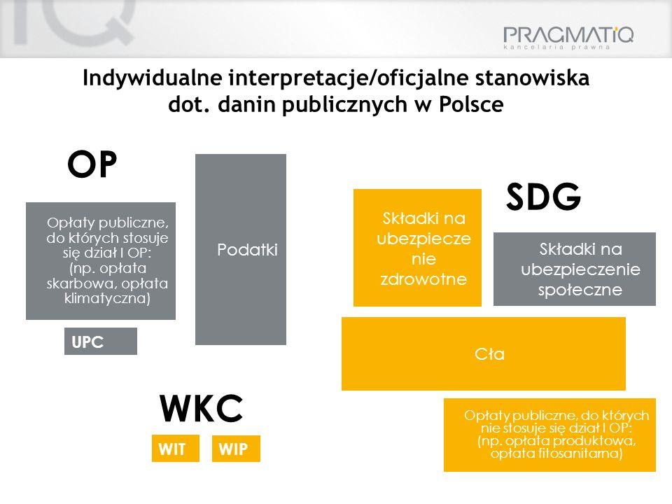 Indywidualne interpretacje/oficjalne stanowiska dot. danin publicznych w Polsce Cła Podatki Składki na ubezpiecze nie zdrowotne Opłaty publiczne, do k