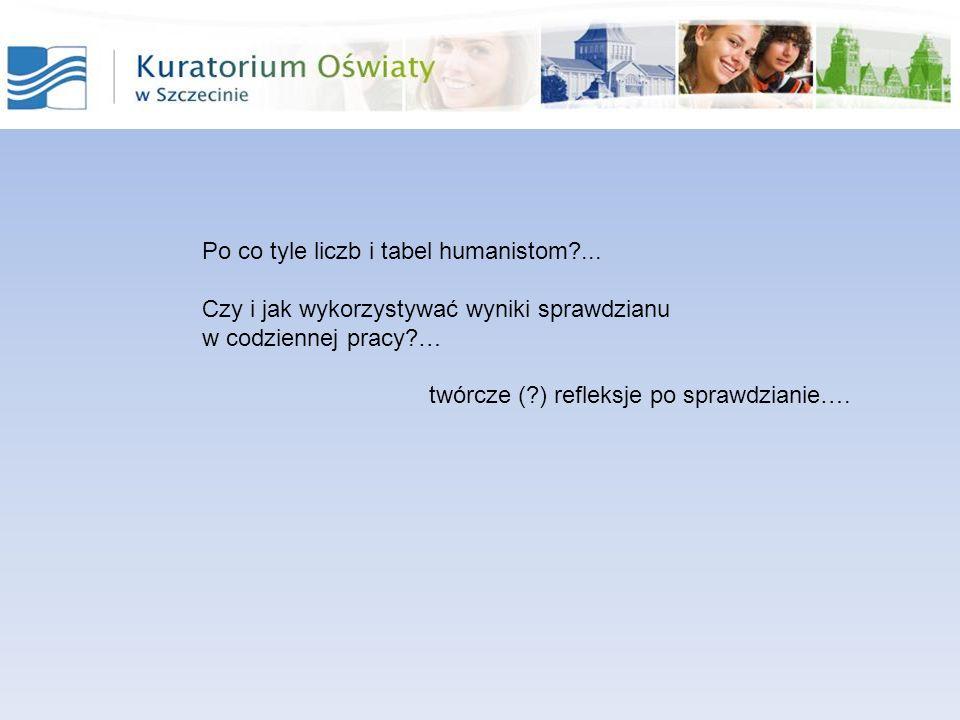 Po co tyle liczb i tabel humanistom?... Czy i jak wykorzystywać wyniki sprawdzianu w codziennej pracy?… twórcze (?) refleksje po sprawdzianie….