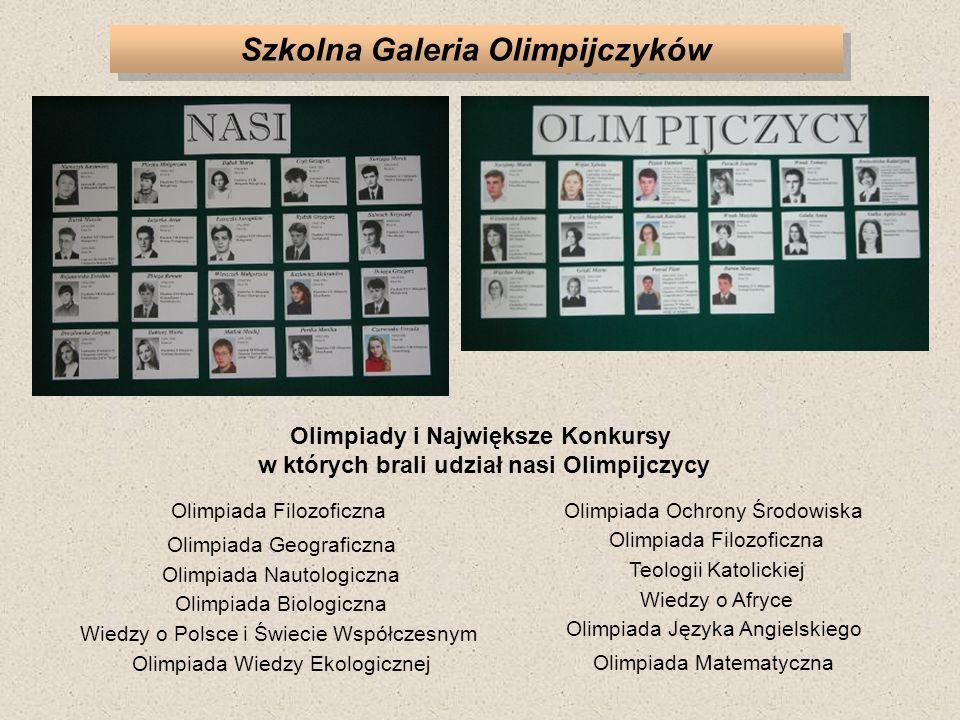 Szkolna Galeria Olimpijczyków Olimpiady i Największe Konkursy w których brali udział nasi Olimpijczycy Olimpiada Ochrony Środowiska Olimpiada Filozoficzna Teologii Katolickiej Wiedzy o Afryce Olimpiada Języka Angielskiego Olimpiada Matematyczna Olimpiada Filozoficzna Olimpiada Geograficzna Olimpiada Nautologiczna Olimpiada Biologiczna Wiedzy o Polsce i Świecie Współczesnym Olimpiada Wiedzy Ekologicznej