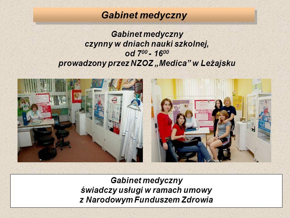 Gabinet medyczny Gabinet medyczny świadczy usługi w ramach umowy z Narodowym Funduszem Zdrowia Gabinet medyczny czynny w dniach nauki szkolnej, od 7 0
