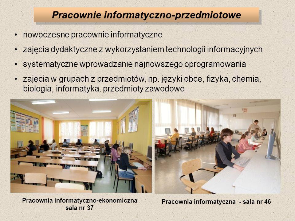 Pracownie informatyczno-przedmiotowe nowoczesne pracownie informatyczne zajęcia dydaktyczne z wykorzystaniem technologii informacyjnych systematyczne wprowadzanie najnowszego oprogramowania zajęcia w grupach z przedmiotów, np.
