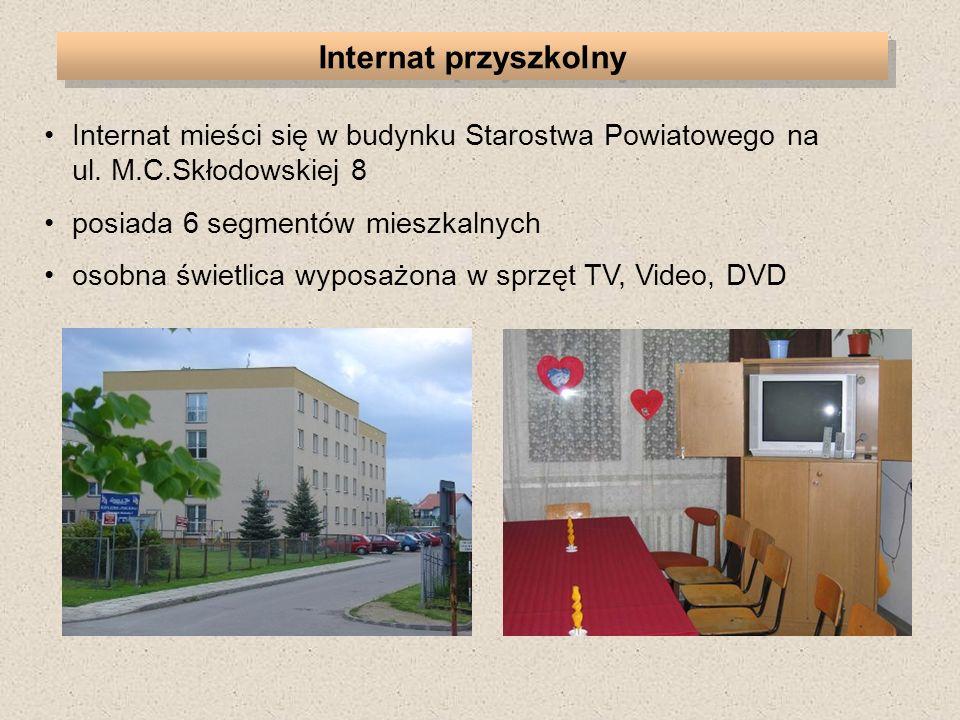 Internat mieści się w budynku Starostwa Powiatowego na ul. M.C.Skłodowskiej 8 posiada 6 segmentów mieszkalnych osobna świetlica wyposażona w sprzęt TV