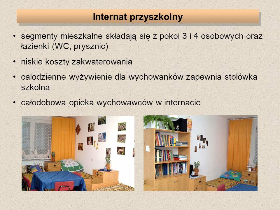 segmenty mieszkalne składają się z pokoi 3 i 4 osobowych oraz łazienki (WC, prysznic) niskie koszty zakwaterowania całodzienne wyżywienie dla wychowanków zapewnia stołówka szkolna całodobowa opieka wychowawców w internacie Internat przyszkolny