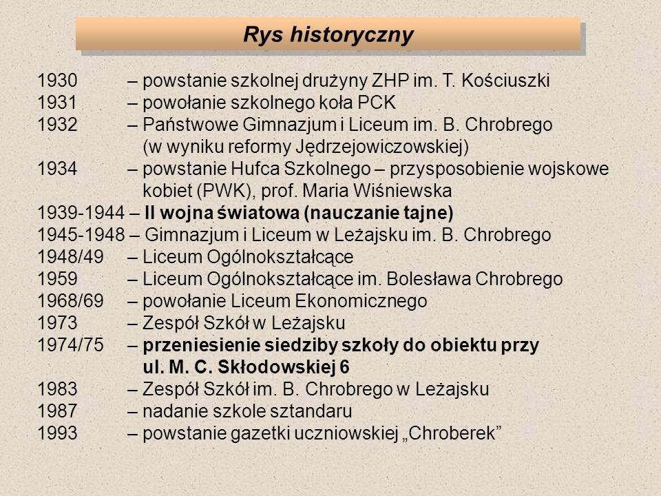 Rys historyczny 1930 – powstanie szkolnej drużyny ZHP im. T. Kościuszki 1931 – powołanie szkolnego koła PCK 1932 – Państwowe Gimnazjum i Liceum im. B.