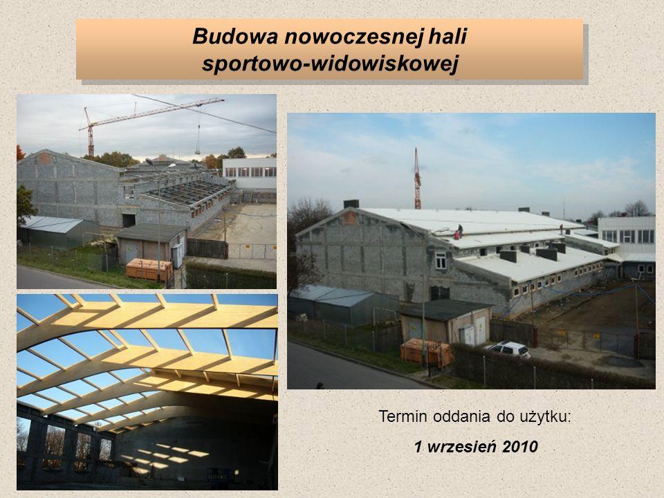 Budowa nowoczesnej hali sportowo-widowiskowej Termin oddania do użytku: 1 wrzesień 2010
