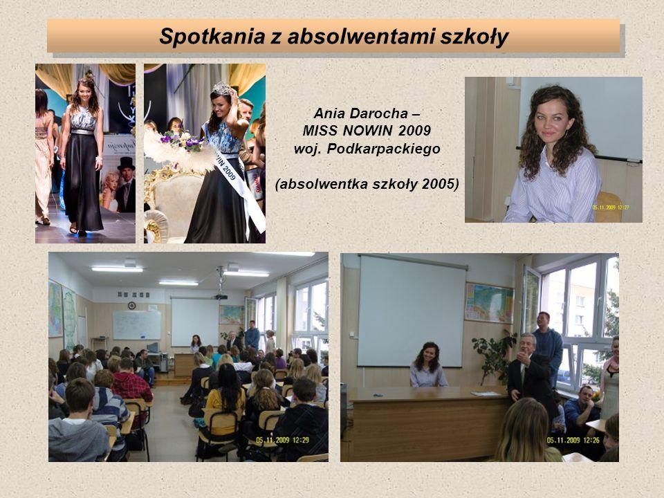 Spotkania z absolwentami szkoły Ania Darocha – MISS NOWIN 2009 woj. Podkarpackiego (absolwentka szkoły 2005)