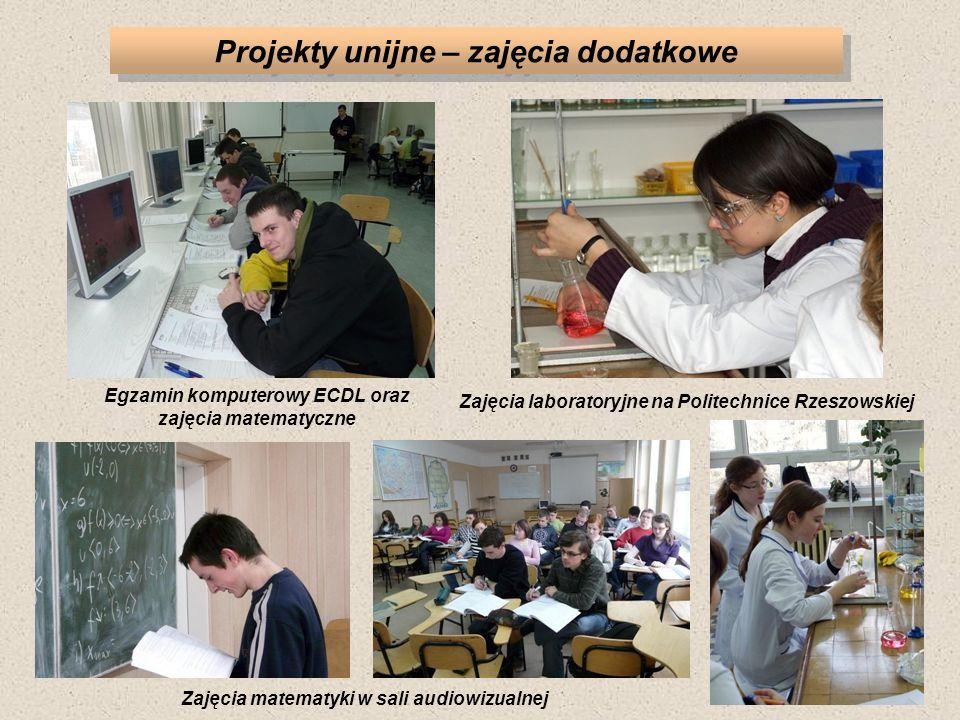 Projekty unijne – zajęcia dodatkowe Zajęcia laboratoryjne na Politechnice Rzeszowskiej Egzamin komputerowy ECDL oraz zajęcia matematyczne Zajęcia matematyki w sali audiowizualnej