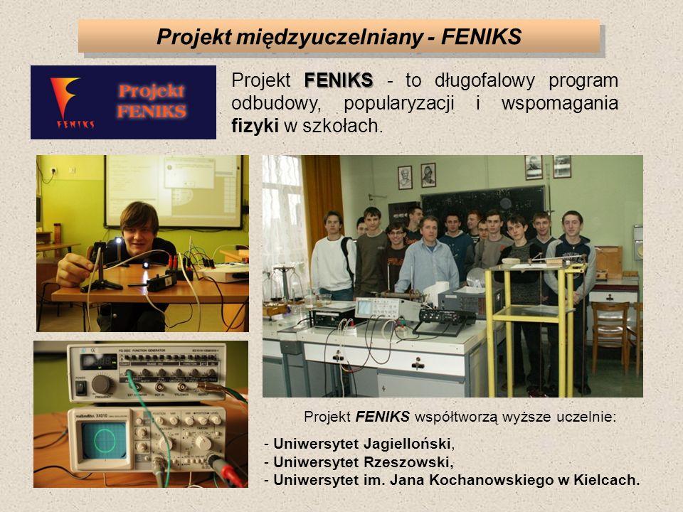 Projekt międzyuczelniany - FENIKS FENIKS Projekt FENIKS - to długofalowy program odbudowy, popularyzacji i wspomagania fizyki w szkołach. Projekt FENI