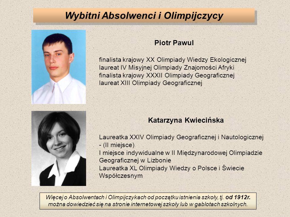 Wybitni Absolwenci i Olimpijczycy Piotr Pawul finalista krajowy XX Olimpiady Wiedzy Ekologicznej laureat IV Misyjnej Olimpiady Znajomości Afryki final