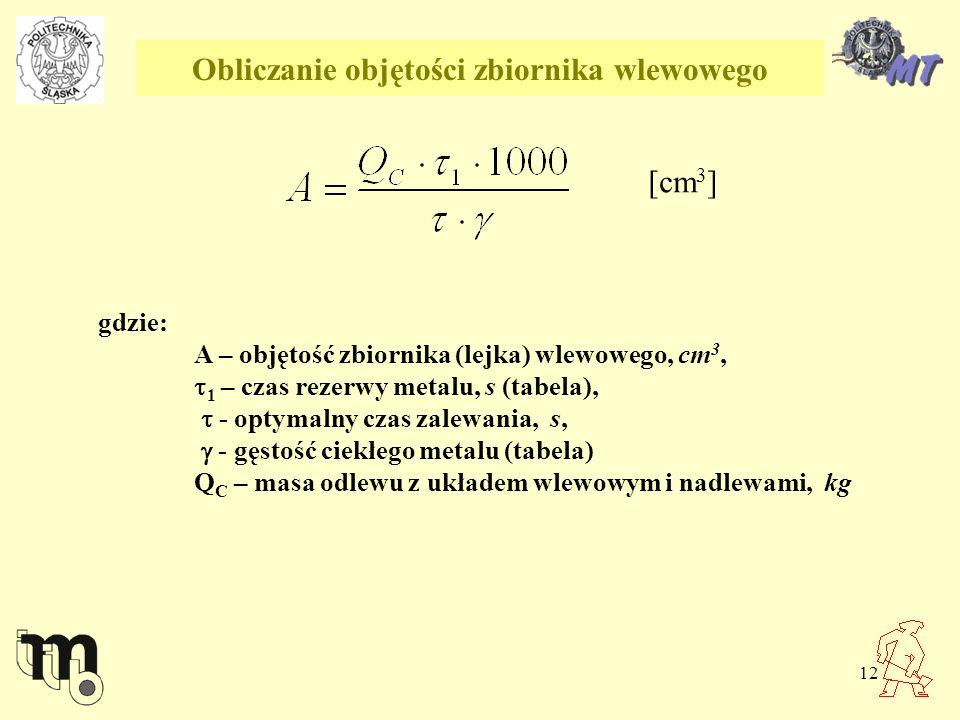 12 Obliczanie objętości zbiornika wlewowego [cm 3 ] gdzie: A – objętość zbiornika (lejka) wlewowego, cm 3, 1 – czas rezerwy metalu, s (tabela), - opty