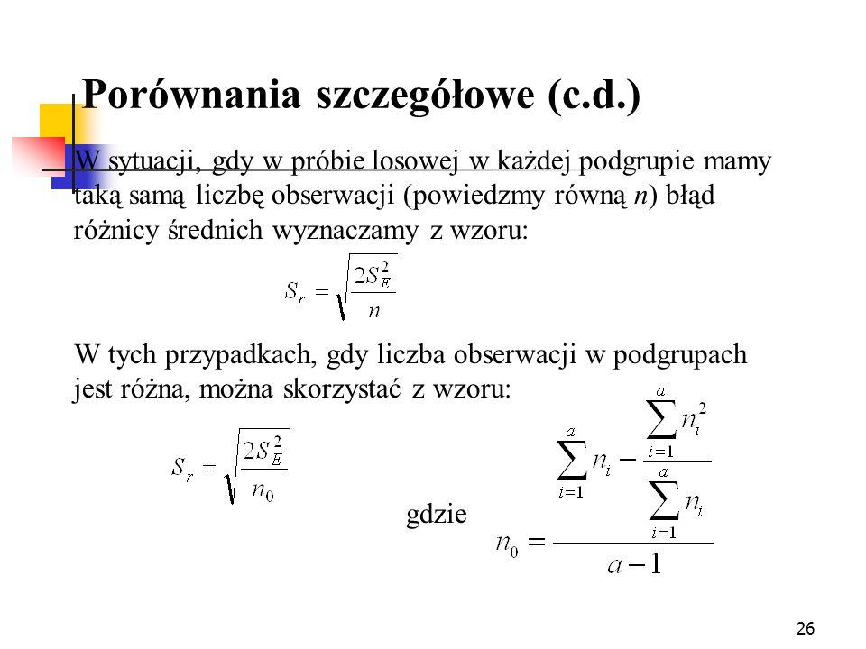 26 Porównania szczegółowe (c.d.) W sytuacji, gdy w próbie losowej w każdej podgrupie mamy taką samą liczbę obserwacji (powiedzmy równą n) błąd różnicy