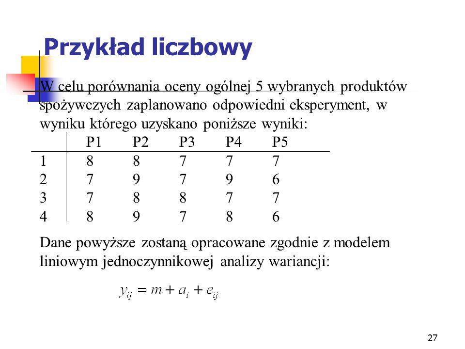 27 Przykład liczbowy W celu porównania oceny ogólnej 5 wybranych produktów spożywczych zaplanowano odpowiedni eksperyment, w wyniku którego uzyskano p