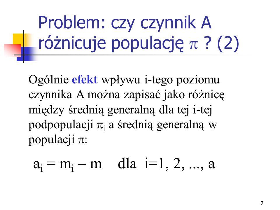 7 Problem: czy czynnik A różnicuje populację ? (2) Ogólnie efekt wpływu i-tego poziomu czynnika A można zapisać jako różnicę między średnią generalną